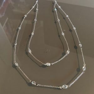 Long Sterling Silver Crystal Station Necklace